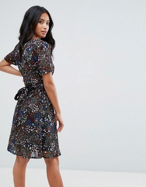 photo Floral Tea Dress by Yumi Petite, color Black Floral - Image 2