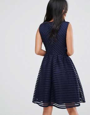 photo Textured Skater Dress by Yumi Petite, color Navy - Image 2