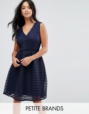 photo Textured Skater Dress by Yumi Petite, color Navy - Image 1