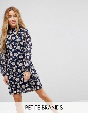 photo High Neck Tunic Dress by Yumi Petite, color Navy Floral - Image 1