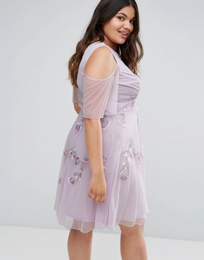 photo Embellished Skater Dress with Ruffle Cold Shoulder by Frock and Frill Plus, color Purple - Image 2