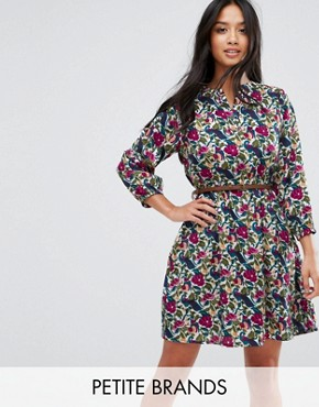 photo Belted Tunic Dress by Yumi Petite, color Multi Floral - Image 1