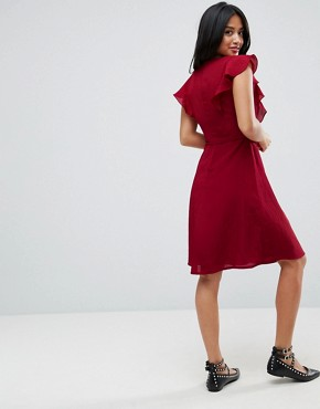 photo Midi Tea Dress with Frill Sleeve by Yumi Petite, color Burgundy - Image 2