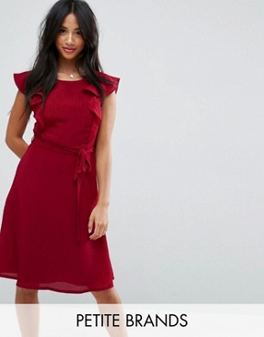 photo Midi Tea Dress with Frill Sleeve by Yumi Petite, color Burgundy - Image 1
