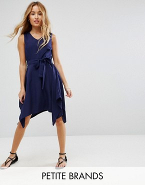photo Hanky Hem Dress with Tie Waist by Yumi Petite, color Navy - Image 1