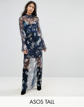 photo Printed Mesh Maxi Dress with Shirred Neck by ASOS TALL, color Multi - Image 1