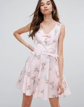 photo Deery Me Printed Mini Skater Dress by Hell Bunny, color Pink - Image 1