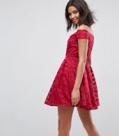 photo Paris Lace Off Shoulder Skater Dress by Hell Bunny, color Red - Image 2