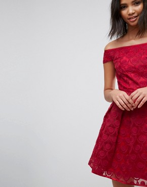 photo Paris Lace Off Shoulder Skater Dress by Hell Bunny, color Red - Image 3