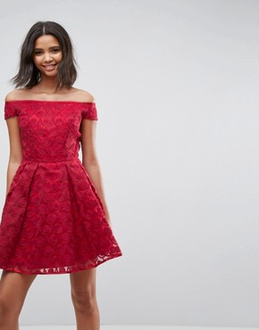 photo Paris Lace Off Shoulder Skater Dress by Hell Bunny, color Red - Image 1