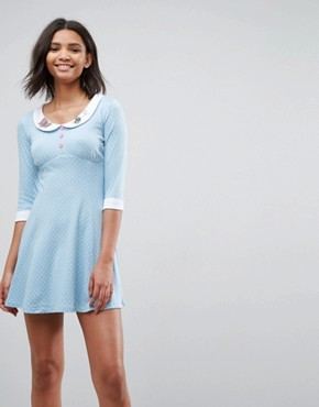 photo Beebee Skater Dress with Collar Detail by Hell Bunny, color Blue - Image 1