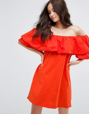 photo Off Shoulder Dress by Pull&Bear, color Red - Image 1