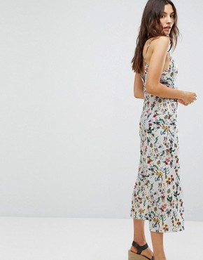 photo Floral Cami Midi Dress by Pull&Bear, color White - Image 2