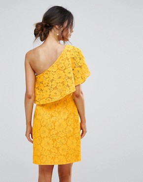 photo Bonded Lace One Shoulder Dress by Warehouse, color Yellow - Image 2