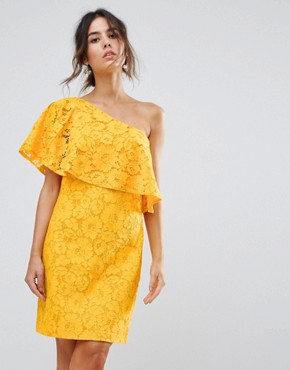 photo Bonded Lace One Shoulder Dress by Warehouse, color Yellow - Image 1