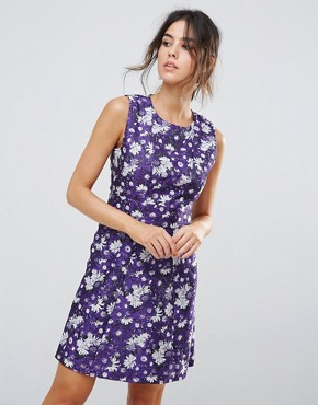 photo Aster Floral Jacquard Dress by Warehouse, color Purple Pattern - Image 1