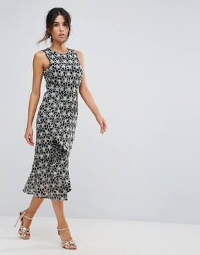 photo Monochrome Lace Dress by Warehouse, color Multi - Image 1