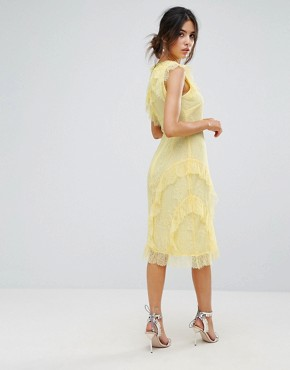 photo Eyelash Lace Frill Dress by Warehouse, color Lemon - Image 2
