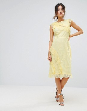 photo Eyelash Lace Frill Dress by Warehouse, color Lemon - Image 1