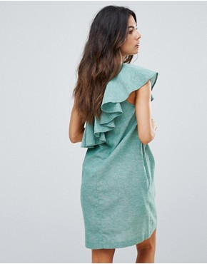 photo Ruffle One Shoulder Dress by Warehouse, color Dark Green - Image 2