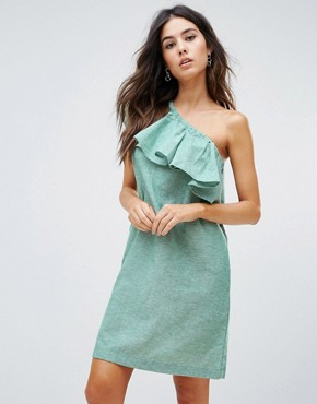 photo Ruffle One Shoulder Dress by Warehouse, color Dark Green - Image 1