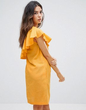 photo Ruffle One Shoulder Dress by Warehouse, color Yellow - Image 2