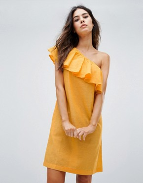 photo Ruffle One Shoulder Dress by Warehouse, color Yellow - Image 1