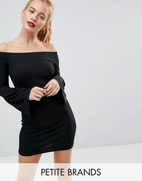 photo Ripped Bardot Dress with Bell Sleeve by Daisy Street Petite, color Black - Image 1