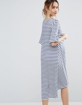 photo Striped Dip Hem Dress by Bluebelle Maternity, color Stripe - Image 2