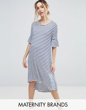 photo Striped Dip Hem Dress by Bluebelle Maternity, color Stripe - Image 1