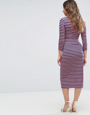 photo Bodycon Dress with 3/4 Sleeve in Stripe by Bluebelle Maternity, color Multi Stripe - Image 2