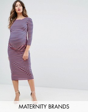 photo Bodycon Dress with 3/4 Sleeve in Stripe by Bluebelle Maternity, color Multi Stripe - Image 1