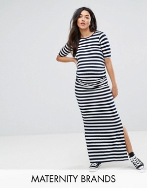 photo Striped Maxi Dress with Side Split by Bluebelle Maternity, color Stripe - Image 1