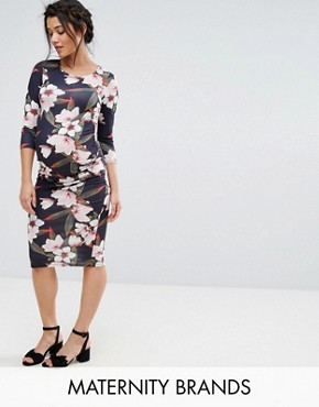 photo Floral Print Bodycon Dress by Bluebelle Maternity, color Multi - Image 1