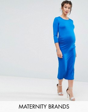 photo Bodycon Dress with 3/4 Sleeve by Bluebelle Maternity, color Cobalt - Image 1