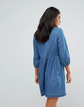 photo Frill Detail Chambray Skater Dress by Only, color Blue - Image 2