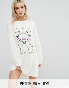 photo Embroidered Sweater Dress by Vero Moda Petite, color Winter White - Image 1