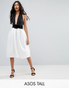 photo Mono Belted Halter Neck Midi Prom Dress by ASOS TALL, color Multi - Image 1