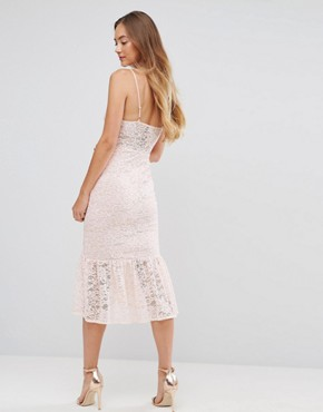 photo Lace Plunge Pephem Midi Dress by ASOS TALL, color Nude - Image 2