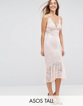 photo Lace Plunge Pephem Midi Dress by ASOS TALL, color Nude - Image 1