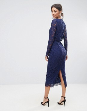 photo Lace Long Sleeve Midi Pencil Dress by ASOS TALL WEDDING, color Navy - Image 2