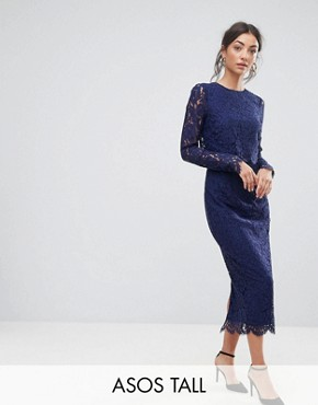 photo Lace Long Sleeve Midi Pencil Dress by ASOS TALL WEDDING, color Navy - Image 1
