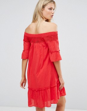 photo Off the Shoulder Dress by Vero Moda Tall, color Red - Image 2