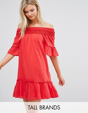 photo Off the Shoulder Dress by Vero Moda Tall, color Red - Image 1