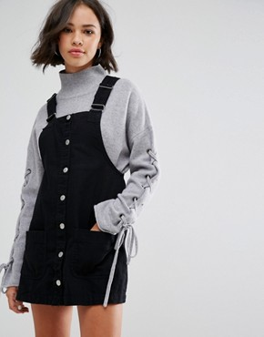 photo Denim Dungaree Dress by Pull&Bear, color Black - Image 1