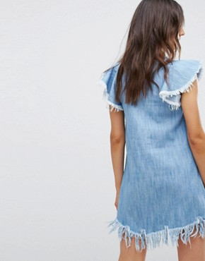 photo Denim Dress with Distressing by Pull&Bear, color Blue - Image 2