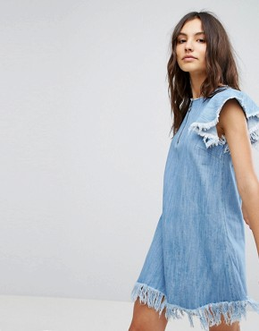 photo Denim Dress with Distressing by Pull&Bear, color Blue - Image 1