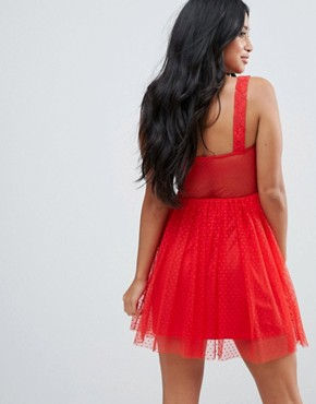 photo Lace & Dobby Mix Skater Mini Dress by ASOS PETITE, color Red - Image 2
