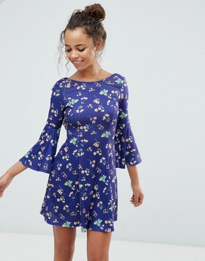 photo Frill Back Printed Tea Dress by ASOS PETITE, color Blue - Image 2