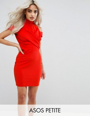 photo Ribbed Cold Shoulder Bodycon Mini Dress by ASOS PETITE, color Red - Image 1